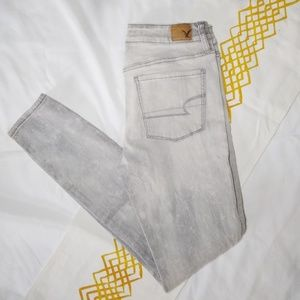 AEO   hi-rise grey skinny jeans 8 long